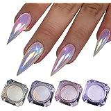 Aurora Mermaid Nail Glitter 4 Boxes Unicorn Neon Chrome Nail Powder Chameleon Pearl Nail Pigment TintTower