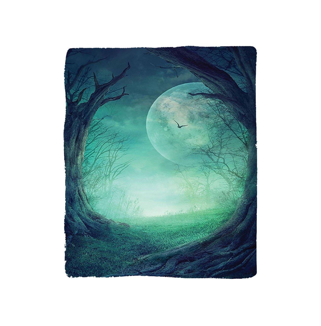 VROSELV Custom Blanket Moon Forest Gothic Misty Horror Illustration of Autumn Valley with Woods Spooky Tree and Full Moon Scene Soft Fleece Throw Blanket Navy Green