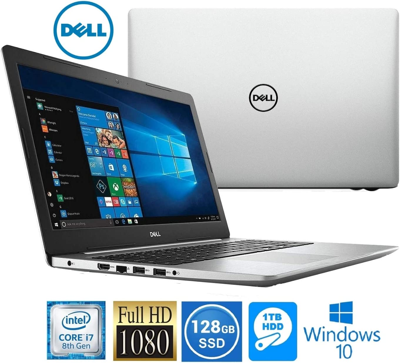 Amazon Com Dell Inspiron 15 Intel I7 8550u 8gb 1tb Hdd 128gb Ssd 15 6 Full Hd Led Laptop Computers Accessories