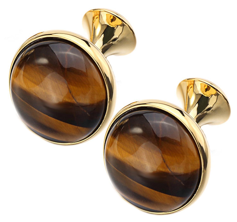 Elegant & Beautiful Brown Tigers Eye Round Gem Stone 18k Gold Plated Cufflinks Cufflinks Direct 8800228140654