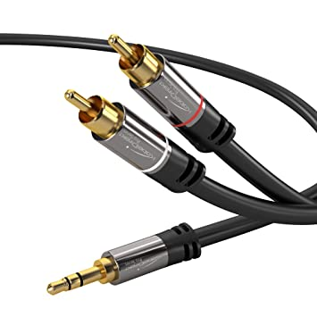 KabelDirekt 2m Cable Jack 3.5mm a RCA, (Coaxial Audio Estéreo, 1 Conector