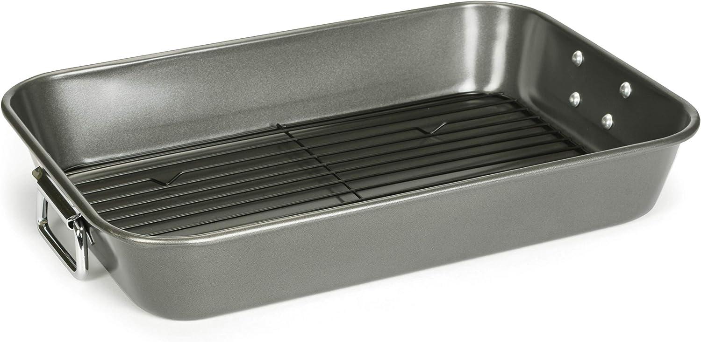 Patisse Carat Roaster Pan with Rack Heavy Duty Double Non-Stick Coating, Dark Grey Metallic