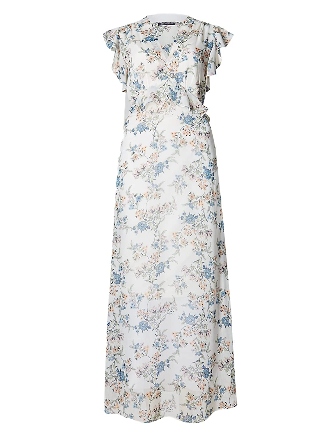 Major highstreet Store Floral Pastel Chiffon Maxi Dress with Frill Sleeves Orig Price �