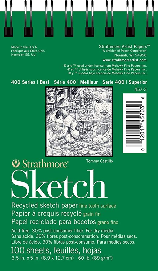 "Strathmore Medium Drawing Spiral Paper Pad 6/""x8/""-24 Sheets"