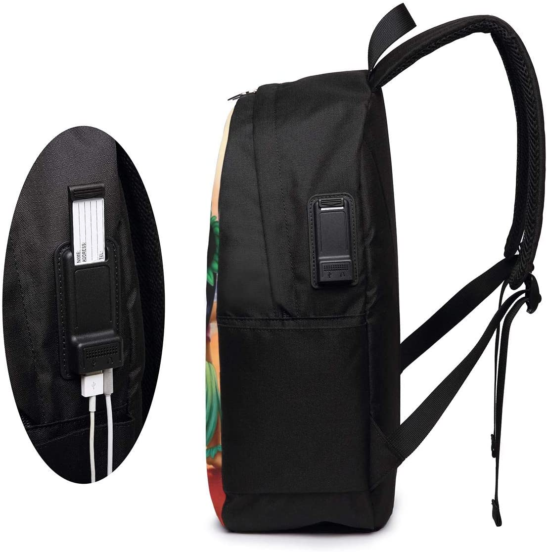 Water Resistant and Two-Way Zippers Li-Lo and Sti-Tch 17 Inch Laptop Backpack Travel School Backpack with USB Charging Port for Women Men