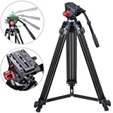"""AW 72"""" Pro Camera Video Tripod Portable Steady Stand Fluid Damping Head Mid-Spreader Carry Bag QR Plate 33lbs Capacity"""