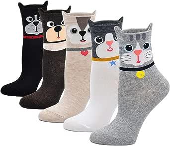 ZAKASA Divertidos calcetines de mujer estampados con lindos perros ...