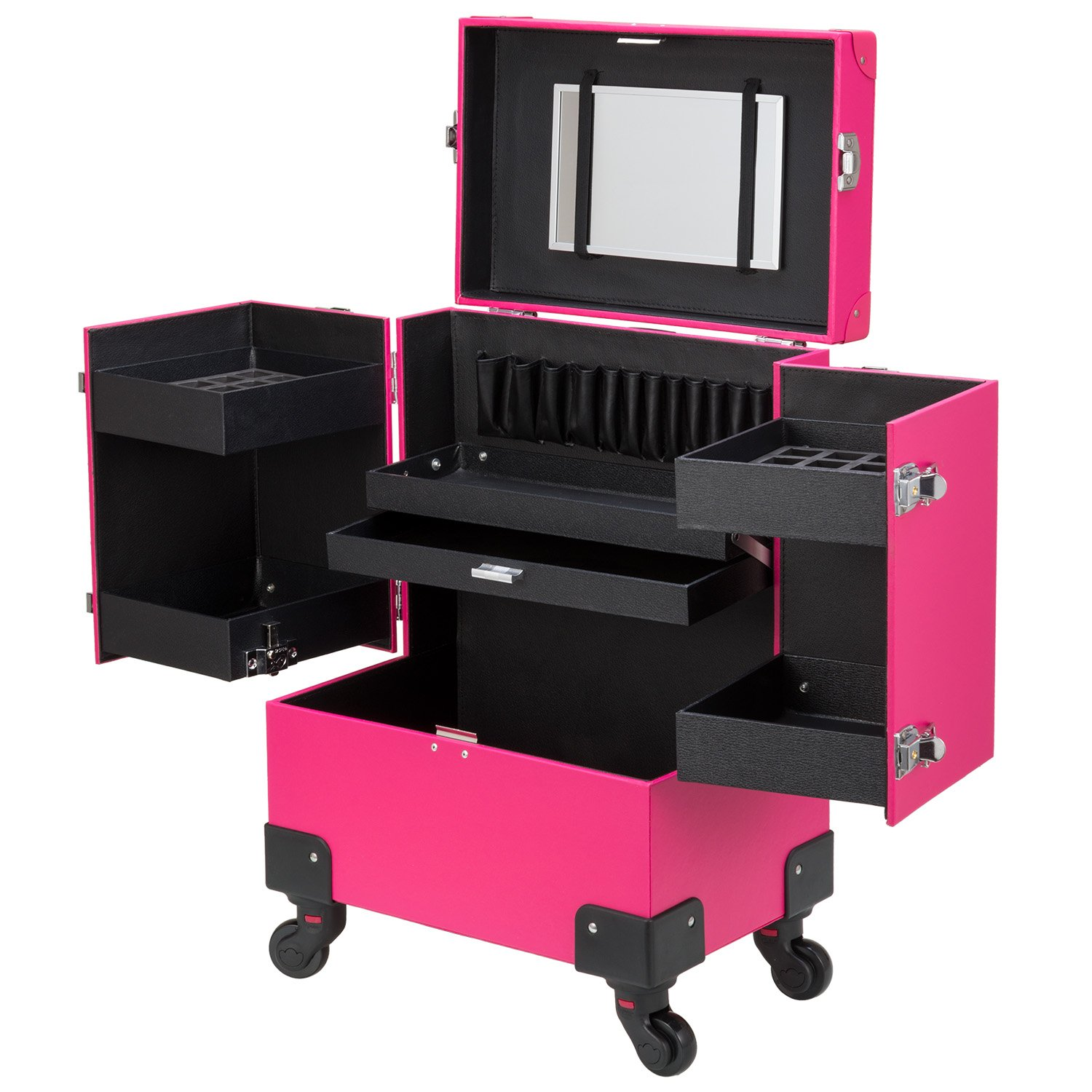 Ollieroo Makeup Train Case Rose-Pink Lockable PU Artist Makeup Cosmetic Train Case with 4 Removable Rolling Wheels and 4 Keys by Ollieroo