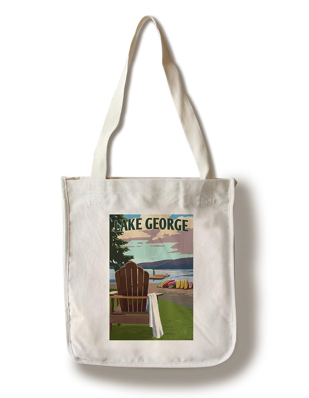 Lake George, New York - 湖とアディロンダックチェア - 単にサイド Canvas Tote Bag LANT-86341-TT B07BSPSLBF  Canvas Tote Bag