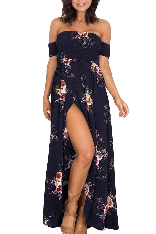 Vestito da Spiaggia MXYZ Lunga Abito da Donna con Maniche Corte Spalla Senza Spalline Casual Mode Stampa Vestito Tunica Ampia Abiti da Spiaggia Elegante