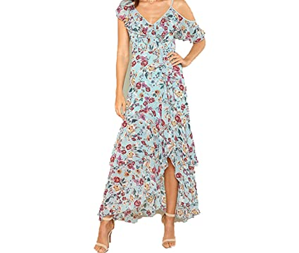 9ee86a817f Unique-Shop dresses Vacation Bohemian Beach Floral Print Ruffle Hem V Neck  Sleeveless Maxi Dress Summer Women Flounce at Amazon Women's Clothing store: