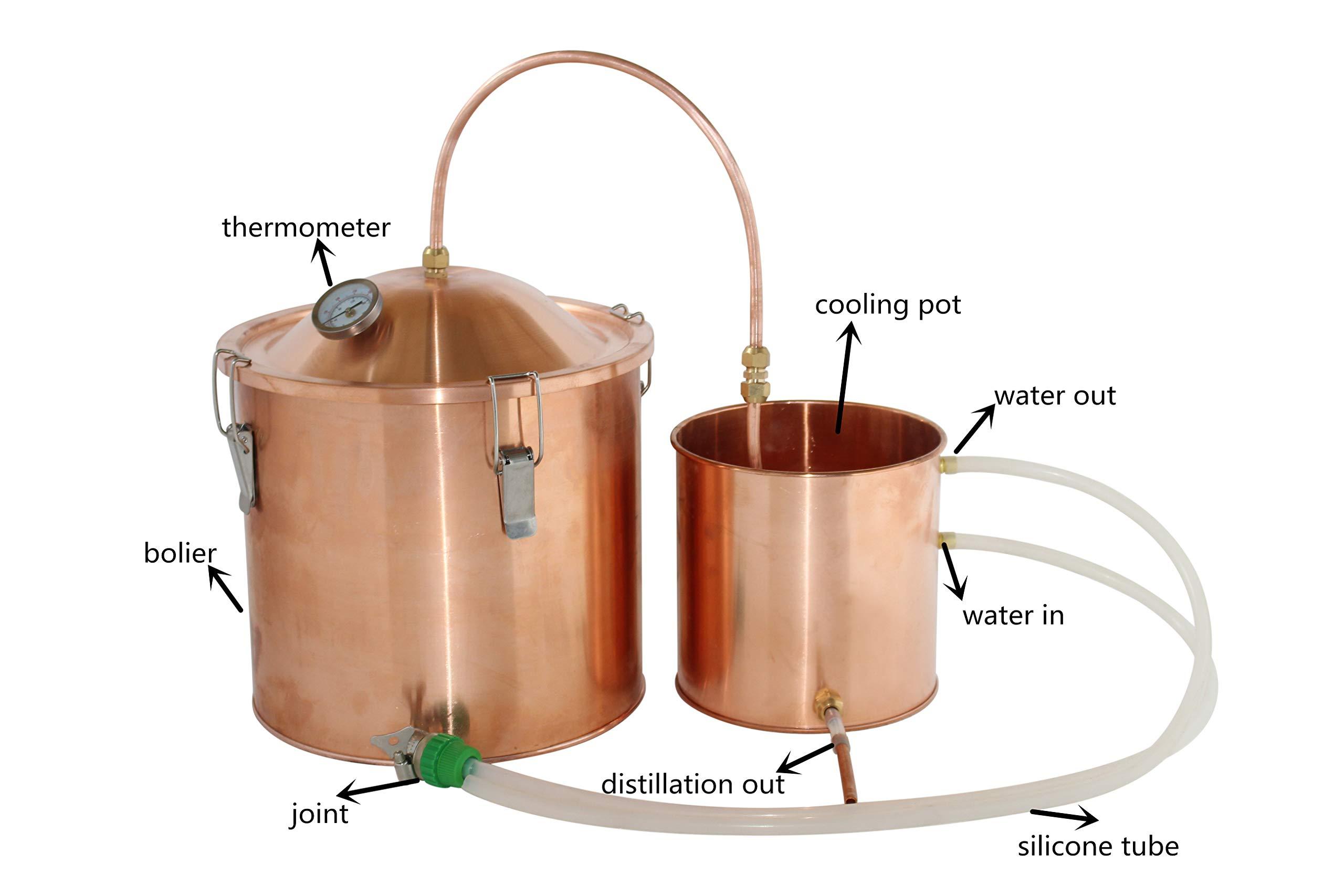 NEW 3gal/10L Water Distiller Copper Pot Moonshine Still Boiler Home Brew Kit