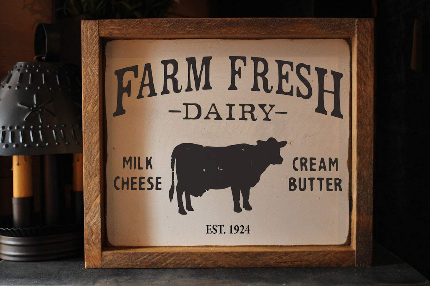 Primitive DAIRY FRESH distressed wood sign//plaque farmhouse country home decor