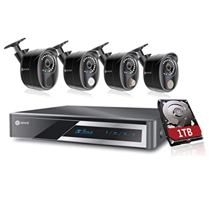 Anni Home CCTV Alarm Video Recorder Surveillance Kit, 8-Channel 1080N Digital Video Recorder with 1TB HDD, 4 x 1080p Cameras: 1 x PIR Sensor Camera, 1 ...