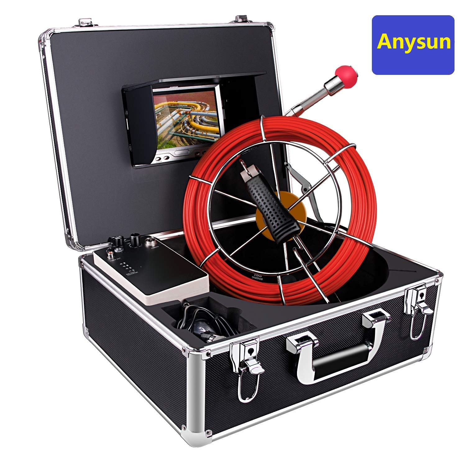Sewer Pipe Inspction Camera,Anysun 20m-65ft Cable with Distance Counter - Plumbing Snake Industrial Endoscope 4500mAh Battery 7 Inch Color LCD Monitor Waterproof IP68 Borescope Snake Cameras by Anysun