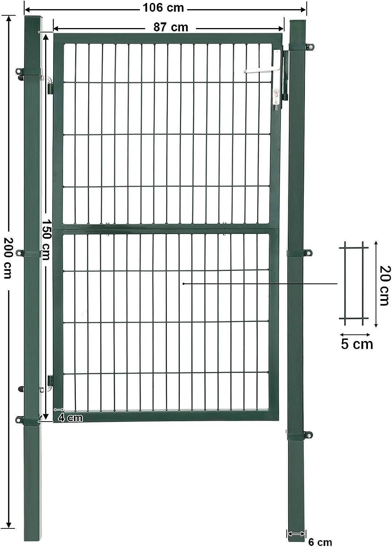 SONGMICS GGD175L Acero galvanizado, Resistente y Duradera, con Cerradura y Llave, 125 x 106 cm Color Verde Puerta de jard/ín