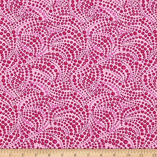 Benartex Cat-I-tude Beaded Swirls Tonal Pink Fabric by The Yard
