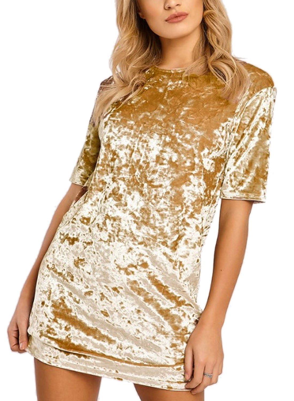 WLLW Women Velvet Short Sleeve Crew Neck Mini Dress Party Dress Night Club Dress