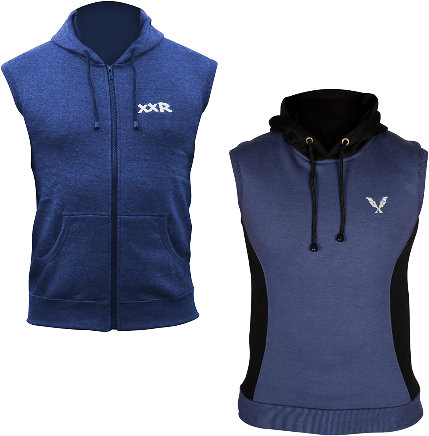 pair of XXR Sleeveless Hoodie Top Hoodies Hooded Sweat Shirt Gilet Gym Clothing Running Jogging Fitness Casual All Weather Cotton Fleece Sports Wear Boxing MMA Hoods Zip Up /& without zip