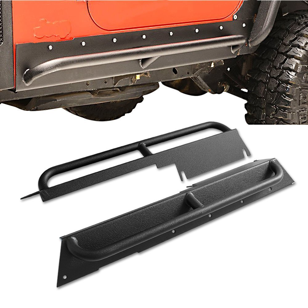 Textured Black Rock Crawler Rock Slider Armor Bar Rocker Guards Side Step Rail Nerf Bar Running Boards Fit 1997-2006 Jeep Wrangler TJ 2 Door CAREPAIR