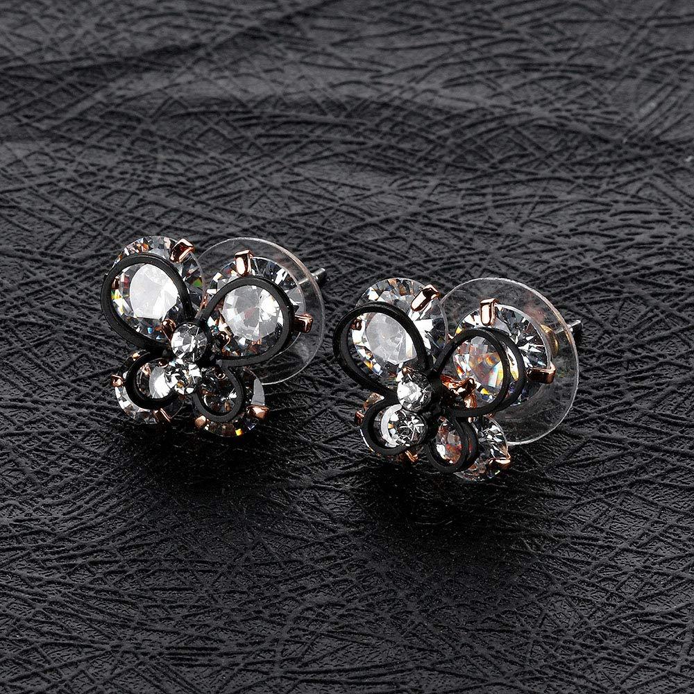 MiYuan Women Fashion Gold Plated Brass Clear Cubic Zircon Black Butterfly Charm Stud Earrings