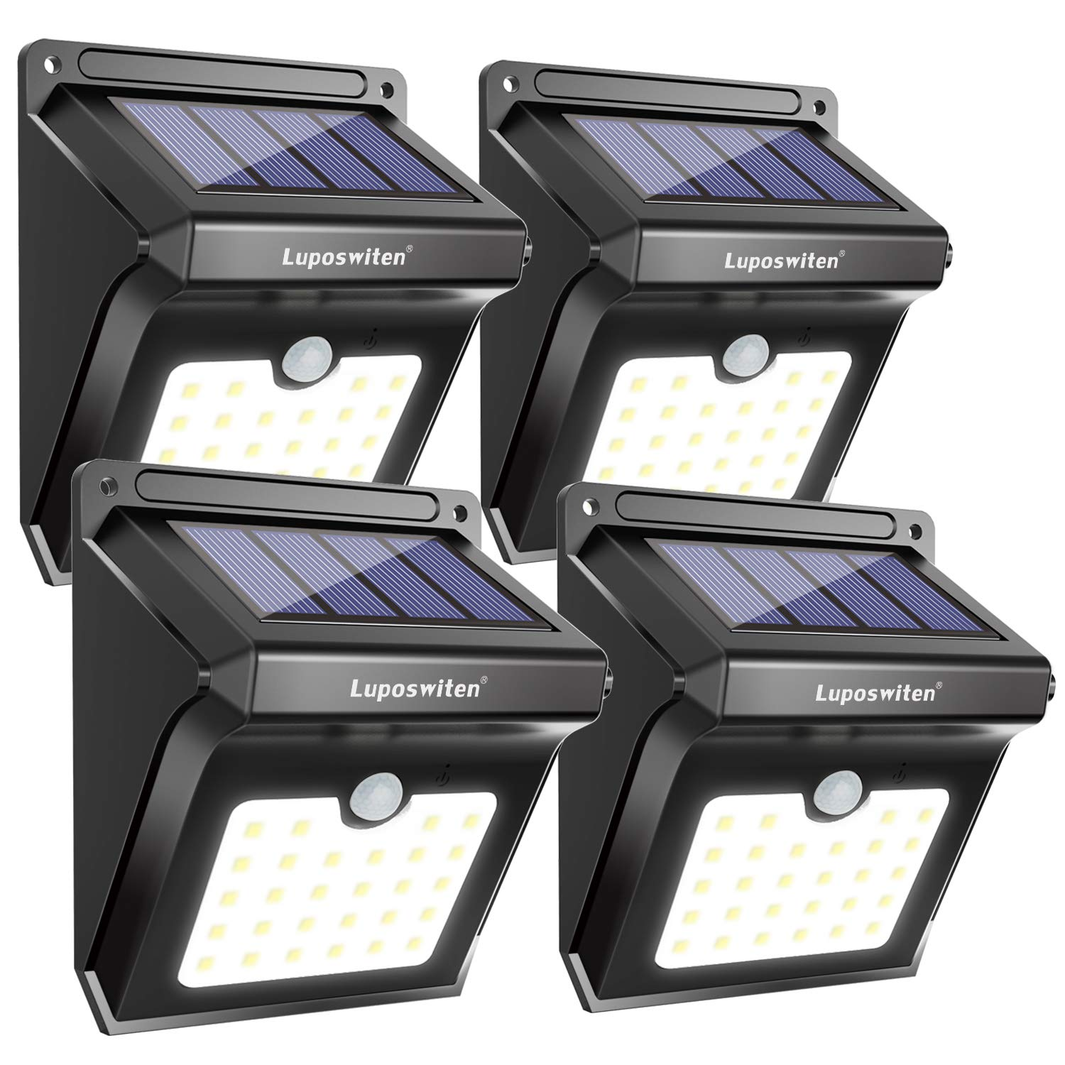 28 LEDs Solar Lights Outdoor, Luposwiten Solar Motion Sensor Lights Wireless Security Lights, 400 Lumen Waterproof Solar Powered Lights for Steps Yard Garage Porch Patio(4-Pack) by Luposwiten