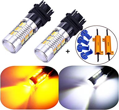 4Pcs Switchback White//Amber Front Parking Signal Light Bulbs For 07-13 Silverado