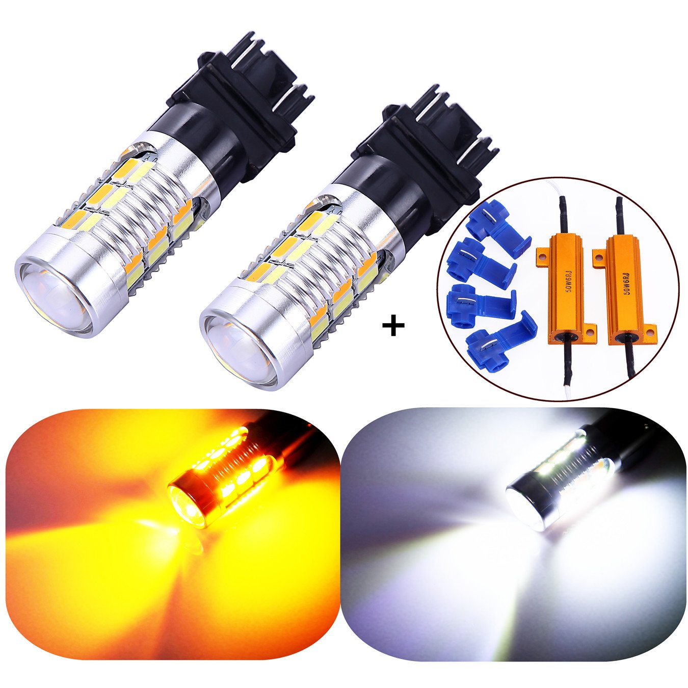 3157 3057 3357 4157 Turn Signal White/Yellow Switchback LED Light Bulbs 22 SMD with Projector, for Standard Socket, Not CK- Pair of 2 VOUKE US