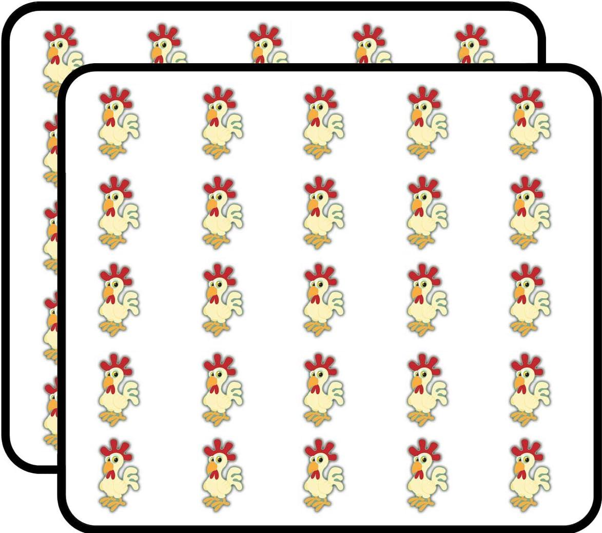 Cock View Funny Chicken Food Sticker for Scrapbooking, Calendars, Arts, Kids DIY Crafts, Album, Bullet Journals 50 Pack