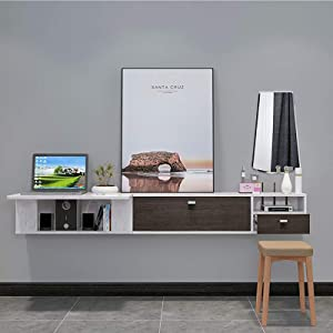 XM&LZ PC Solid Wood Wall Mounted Desk with Large Capacity Cabinet,Dining Study Writing Desk Simple Space Saving,Tv Stand Floating Home Desk-Ivory 79x16x11inch