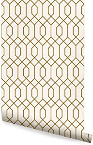 Geometric Hexagon Wallpaper - Peel and Stick - by Simple Shapes (Single Sheet 2ft x 9ft, Gold)