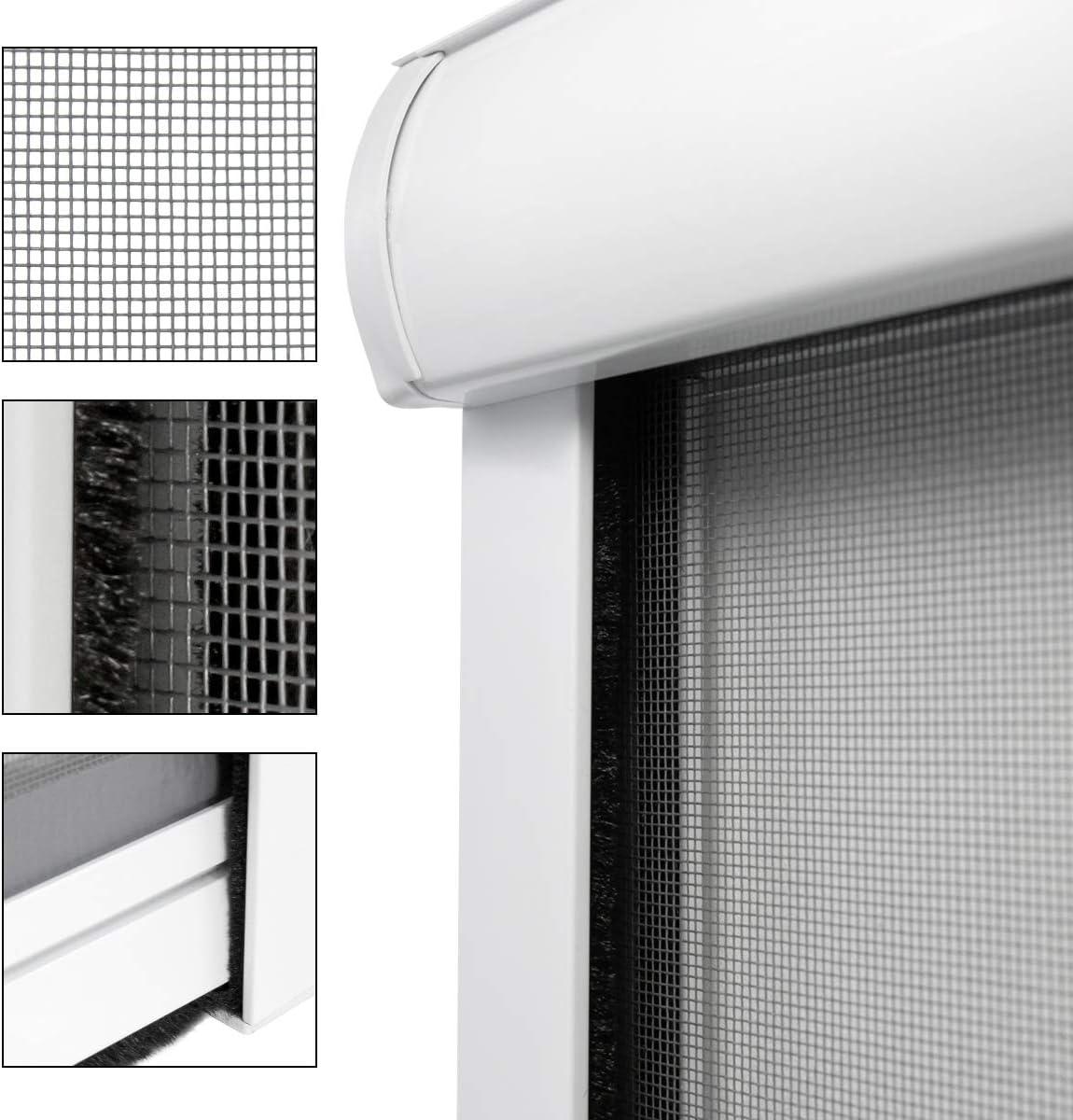 ECD Germany Mosquitera Cortina Enrollable Blanco Resistente a la Intemperie 100x160 cm Tela de Fibra de Vidrio Marco de Aluminio Sin Perforación Malla Protectora Hogar contra Insectos y Mosquitos: Amazon.es: Hogar