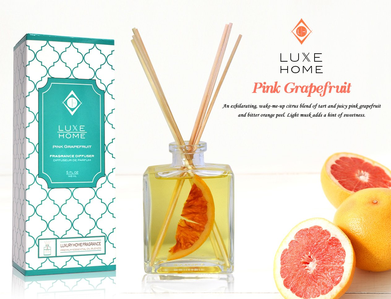 Luxe Home Pink Grapefruit Fragrance Reed Diffuser Oil Gift Set | Infused with Real Fruit Inside The Bottle | Our Scented Sticks are Eco-Friendly & Made in The USA