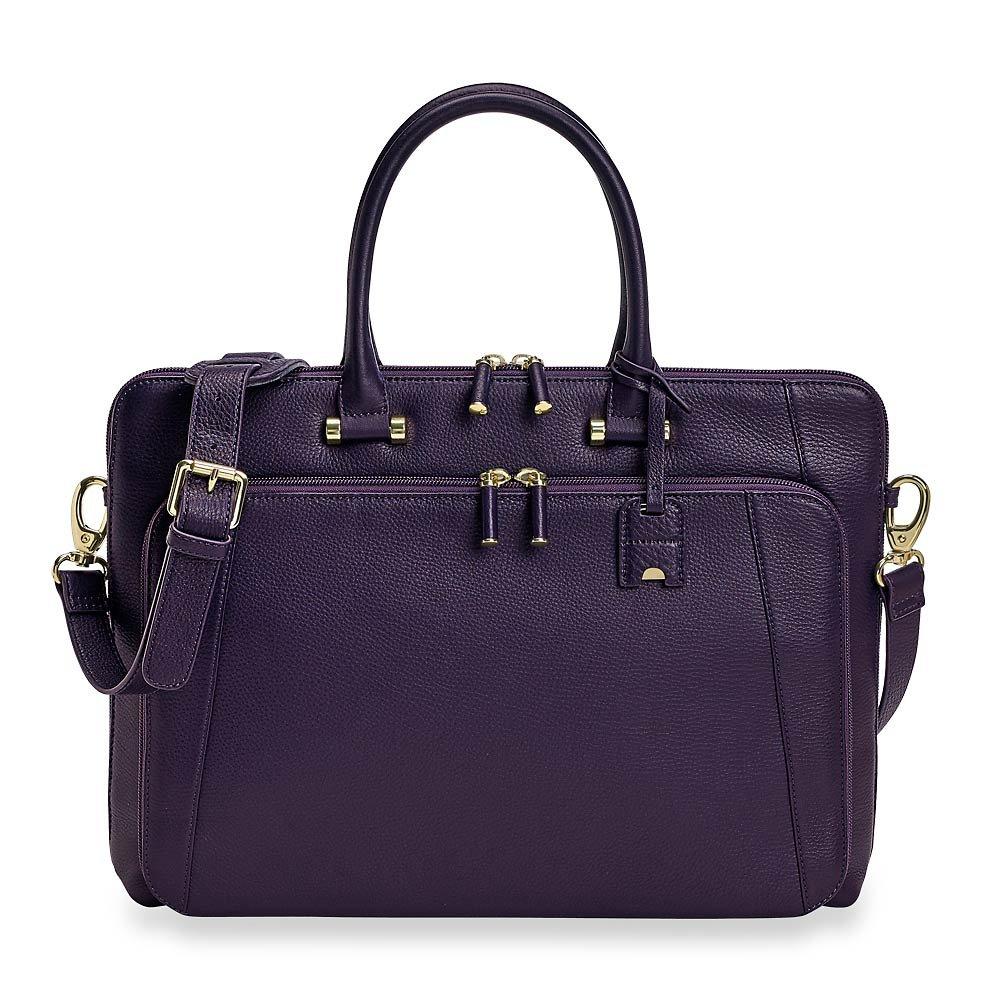 Levenger Women's Leather Blair Briefbag, professional Leather bag - Purple