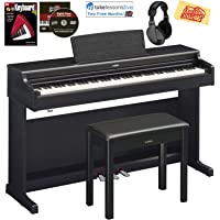 Yamaha Arius YDP-164 Traditional Console Digital Piano - Black Bundle with Furniture Bench, Headphones, Fast Track Music Book, Online Lessons, Austin Bazaar Instructional DVD, and Polishing Cloth