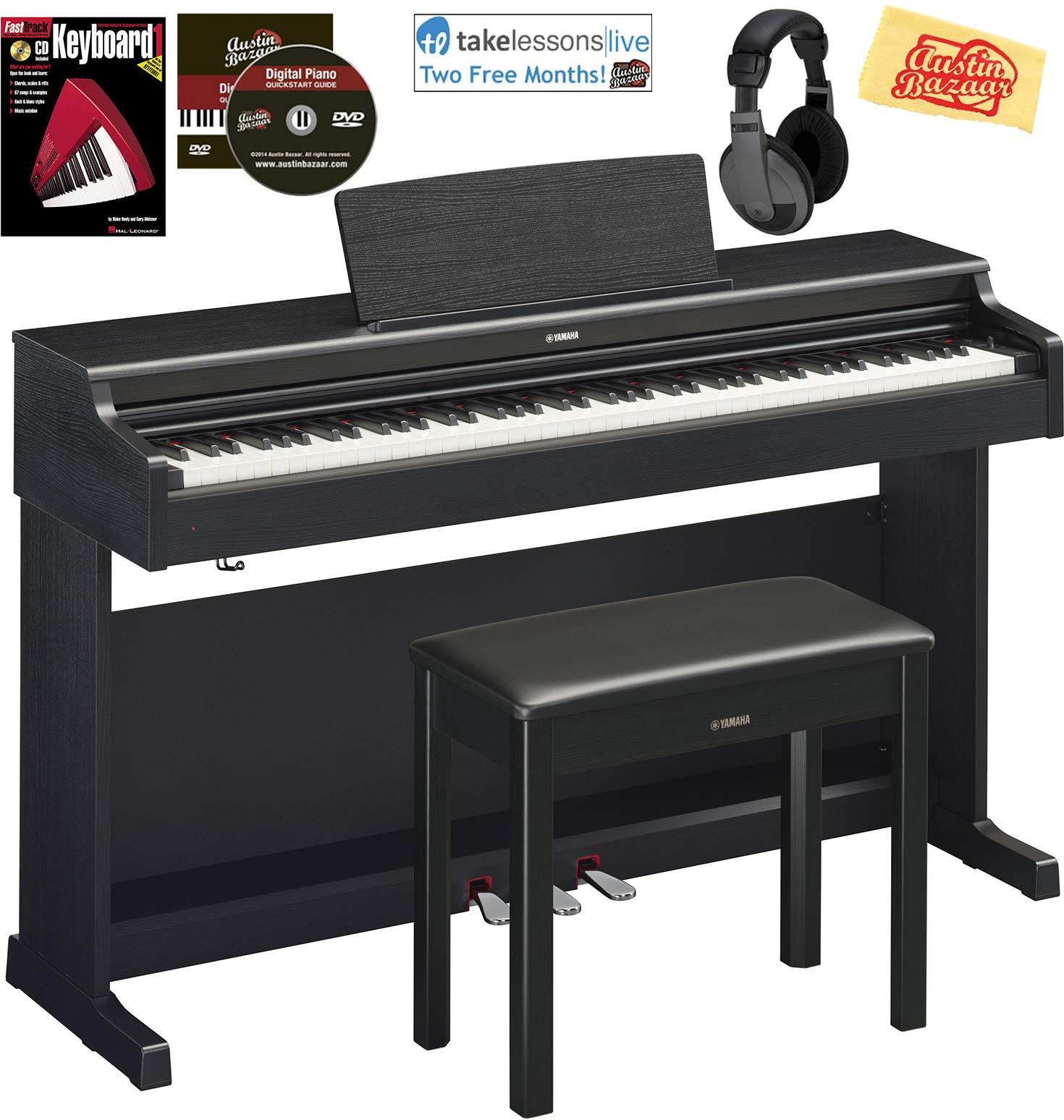 Yamaha Arius YDP-164 Traditional Console Digital Piano - Black Bundle with Furniture Bench, Headphones, Fast Track Music Book, Online Lessons, Austin Bazaar Instructional DVD, and Polishing Cloth by Yamaha
