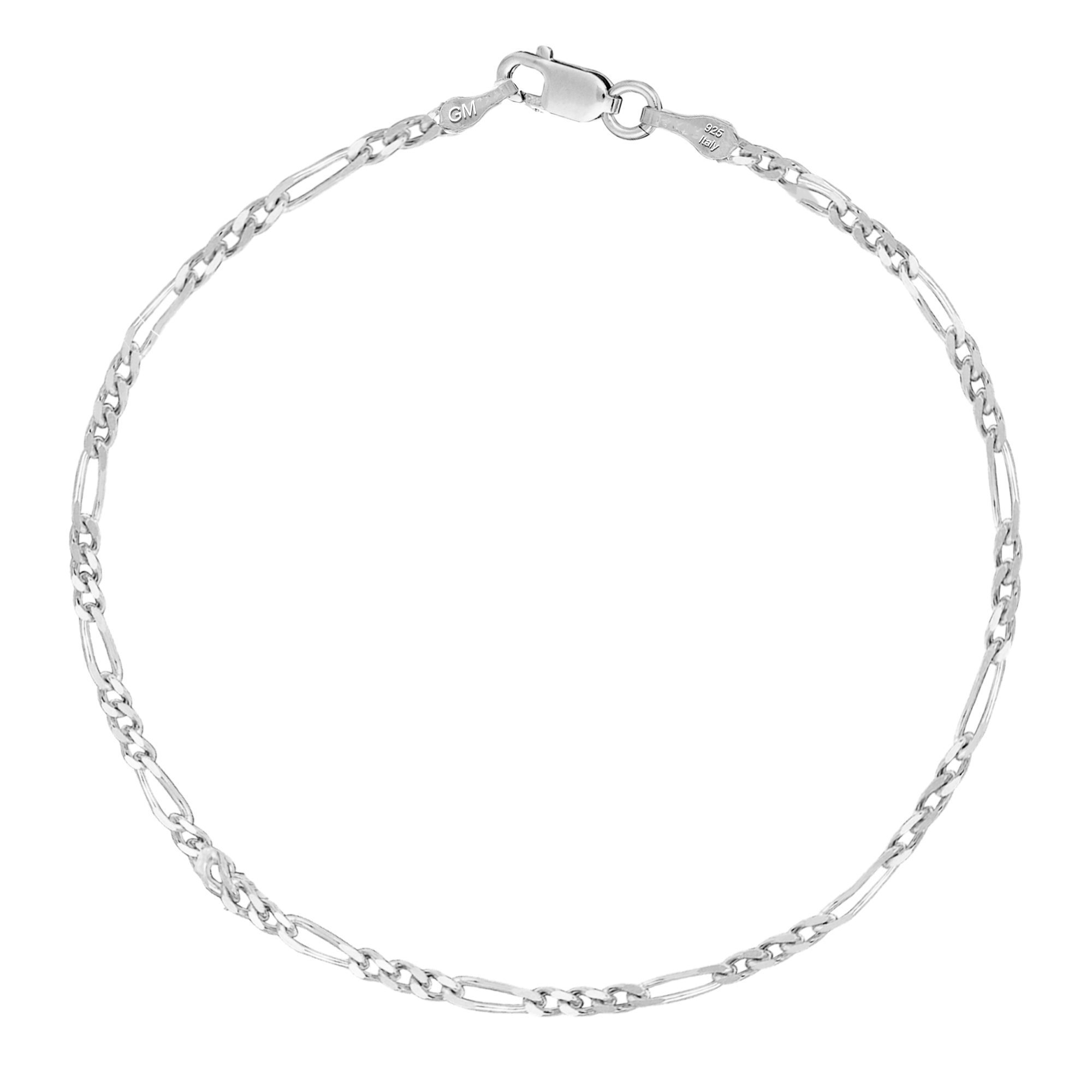 Sterling Silver or Gold-tone Italian Figaro Anklet or Bracelet 2.1mm Width