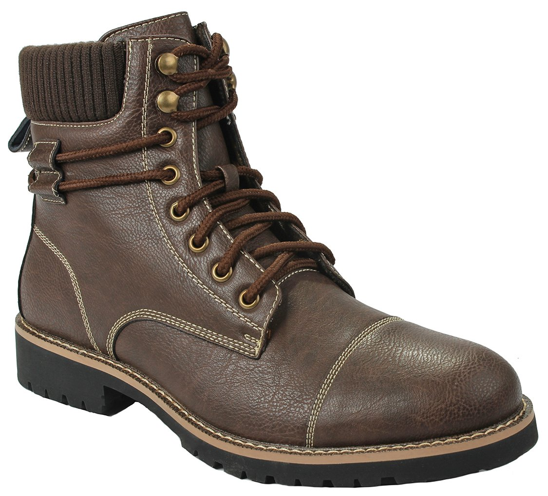 Men's MPX808570 Brown Fashion Faux Wool Lining Lace-up High Top Round Toe Leatherette Dress Ankle Boot Shoes-12