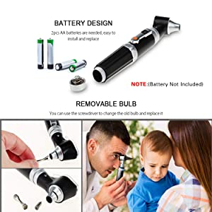 Otoscope Kit,Professional Diagnostic Ear Care Tool with 2.5V Halogen Light, 3X Magnification, 4 Speculum Tips Size - for Children, Adults, Pets, etc.