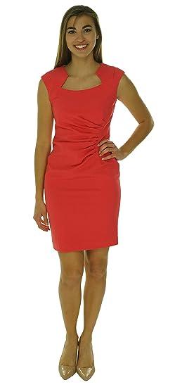 0d9562e95e91 Calvin Klein Womens Petites Pleated Cap Sleeves Wear to Work Dress Pink 4P