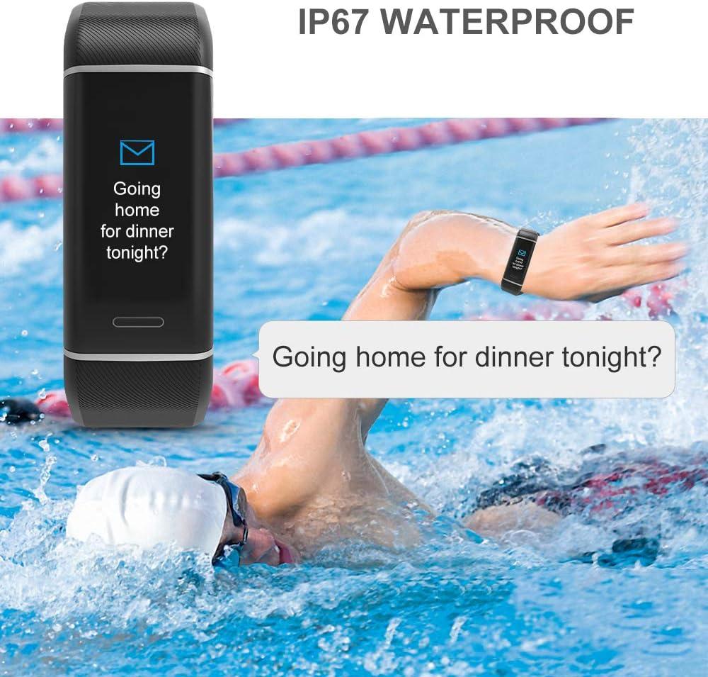 moniteur de fr/équence cardiaque 24 modes de sport Yougdo Tracker dactivit/é Bracelet intelligent avec GPS montre de fitness /étanche moniteur de sommeil compteur de calories podom/ètre
