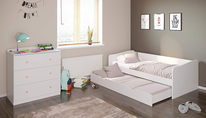 Polini Home Kinderzimmer 2 teilig bestehend aus Bett mit Kommode in weiß