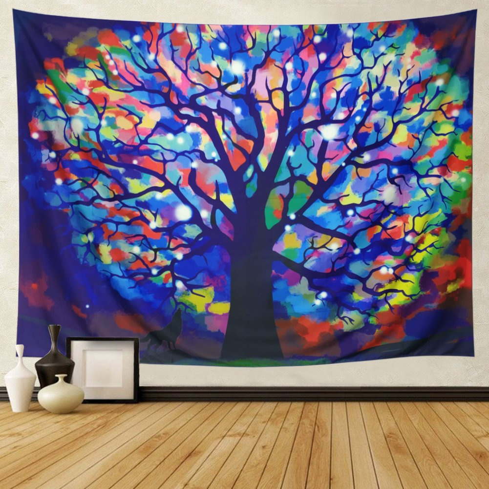 DIPPERION Colorful Tree Tapestry Watercolor Tree Of Life Tapestry Tie Dye Forest Wall Tapestry Bohemian Mandala Tapestry Indian Hippie Hippy Tapestry for Bedroom