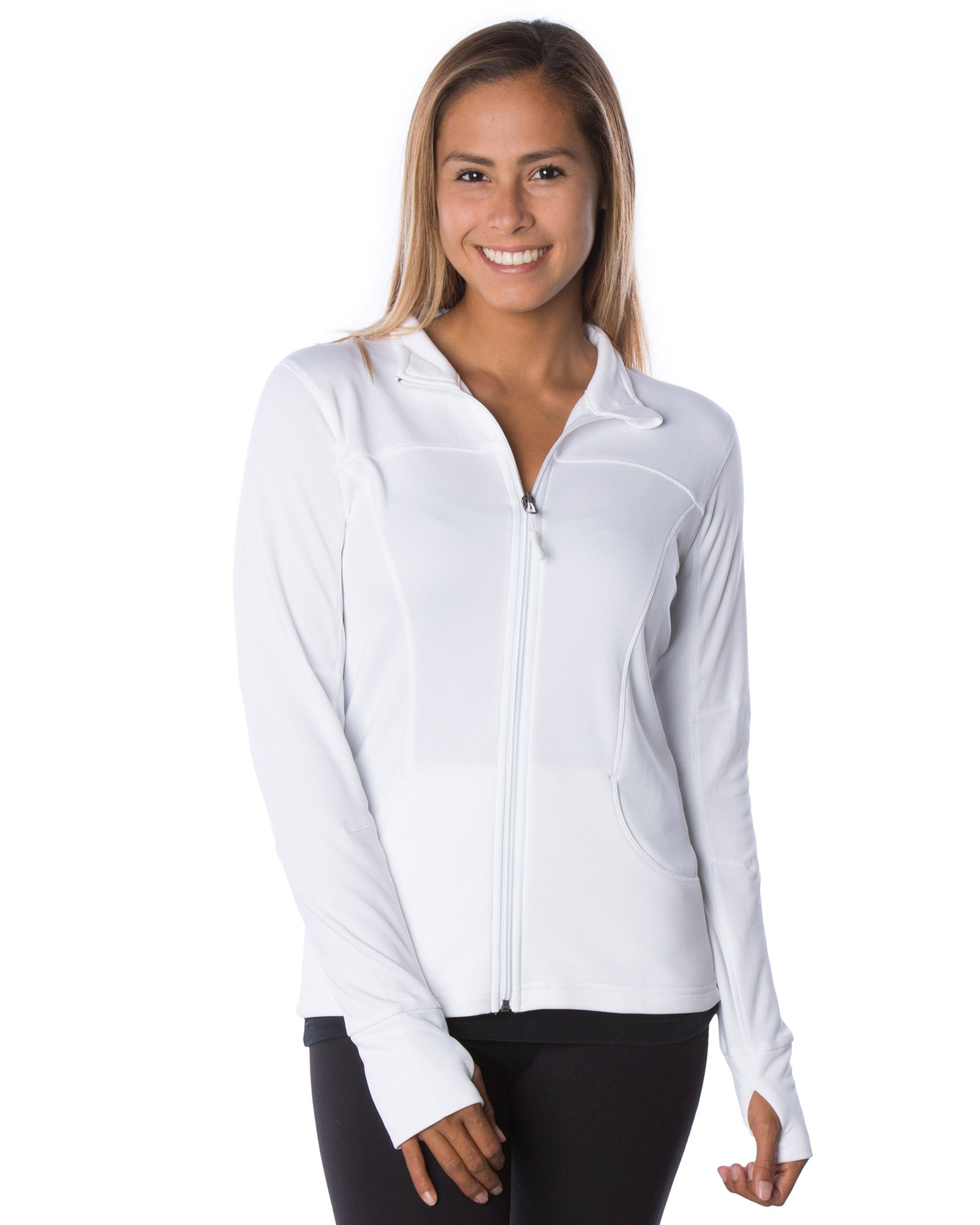 Global Women's Slim Fit Lightweight Full Zip Yoga Workout Jacket XS White