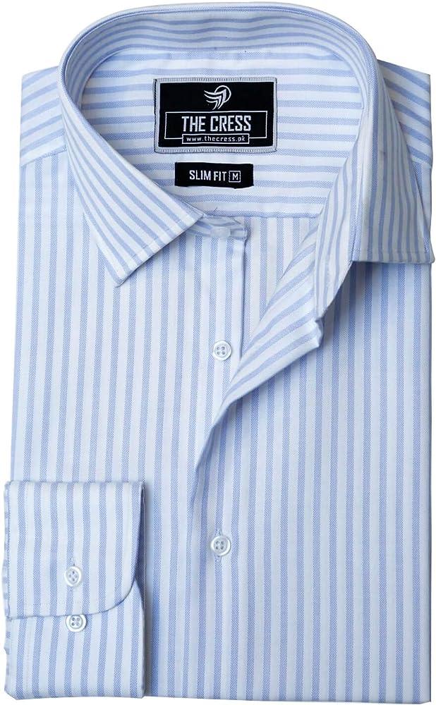 Camisa de Hombre de algodón Puro con Rayas Blancas y Azules Marfil Blanco, Azul, Azul Claro, Azul Cielo. S/Cuello 36.5 cm/Mangas 59.6 cm: Amazon.es: Ropa y accesorios