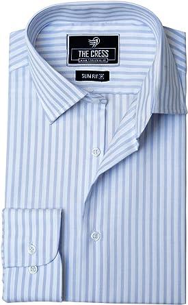 Camisa de Hombre de algodón Puro con Rayas Blancas y Azules ...