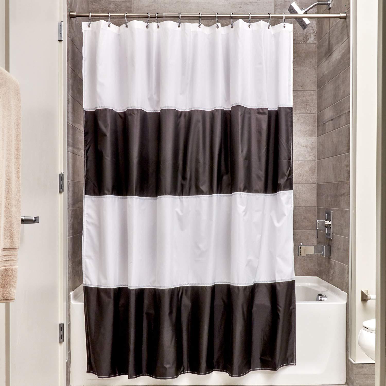 InterDesign Free Fabric Inch Black White Zeno Water Repellent Shower Curtain Modern Stripes X 72 Mold Mildew Resistant Design Standard