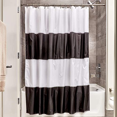 InterDesign Free Fabric Inch Zeno Water Repellent Shower Curtain Modern Black White Stripes