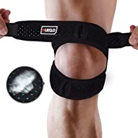 HUEGLO Dual Patella Knee Strap for Knee Pain Relief,Adjustable Neoprene Knee Brace Support for Running, Arthritis, Jumper, Tennis,Injury Recovery,Protection