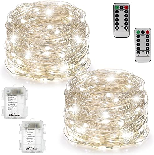 2 Set Fairy Lights Fairy String Lights Battery Operated Waterproof 8 Modes 100 LED 33ft String Lights Copper Wire Firefly Lights with Remote Control Timer for Bedroom Wedding Festival Decor–Warmtas